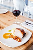 Roast pork with potato and quince purée