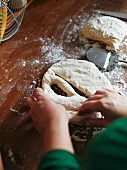Fougasse being made