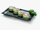 Cucumber maki with prawns