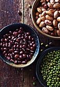 Azuki beans, green beans and borlotti beans in bowls
