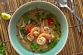 Tom yam gung (spicy-sour prawn soup, Thailand)