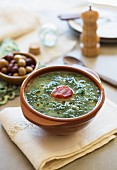 Caldo verde (potato and green kale soup, Portugal) with chorizo