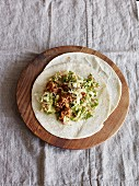 Wraps filled with guacamole