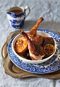 Glazed duck with caramelised lemons