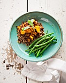 Lentil salad with baked butternut squash and green beans