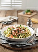 Linguine with salmon, chilli and lemon