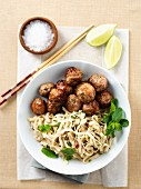 Curried meatballs with coriander pasta