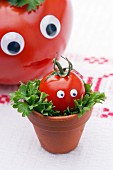 A tomato with a face on a bed of leaves in a mini flowerpot