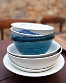 A stack of bowls and dishes