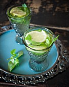 Grog with lemon and mint