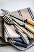 Cutlery on a striped cloth