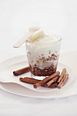 Trifle with cinnamon and grated chocolate