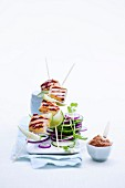 Chicken skewers with cucumber salad (Asia)