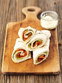 Courgette, ham and cheese wraps