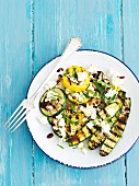 Grilled courgettes with feta, mint and balsamic dressing