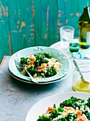 Kale salad with salmon and quinoa