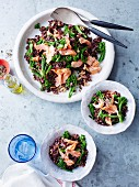Red rice with salmon, broccoli and slivered almonds