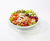 Vegetable salad with chicken donner