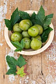 Greengages in a wooden bowl with vine leaves