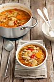 Minestrone with white cabbage, courgettes, tomatoes, potatoes and peppers