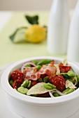 Insalata di fave (bean salad with dried tomatoes and bacon, Italy)