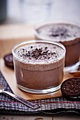 A milkshake with chocolate biscuits