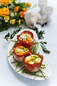 Fried quail's eggs with chives wrapped in Prosciutto for Easter