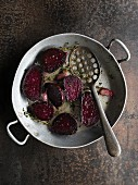 Roasted beetroot with garlic and herbs