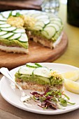 Tuna fish tart with avocado and cucumber