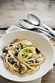 Pasta ai porcini (pasta with porcini mushrooms, Italy)