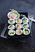 Vegetarian sushi in a takeaway box