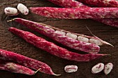 Borlotti beans on wooden background
