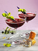 Blueberry and champagne cocktails