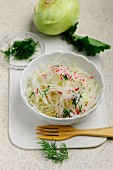 Kohlrabi and radish coleslaw with dill