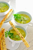 Kohlrabi and chervil soup