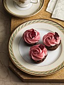 Chocolate cupcakes with rose cream