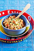 Mexican tomato rice with peas and cumin
