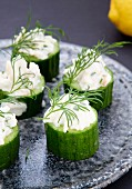 Cucumber stuffed with zander mousse and dill