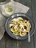 Tortelli with porcini mushrooms and Parmesan cheese