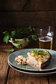 Salmon and cauliflower tart with mint