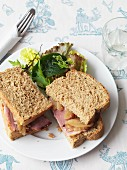 A roast ham sandwich with apple and pear relish