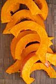Fresh Hokkaido pumpkin wedges