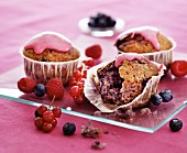 Berry muffins with pink icing