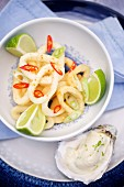 Spicy squid rings with aioli and limes