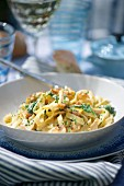 Tagliatelle with chicken breast and mushrooms in a Madeira sauce