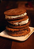 A stack of ice cream sandwiches