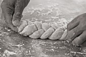 Dough being plaited