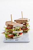 Smoked bacon club sandwiches