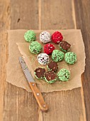 Chocolate truffles with colourful sugar sprinkles