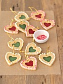 Shortbread hearts with sugar windows